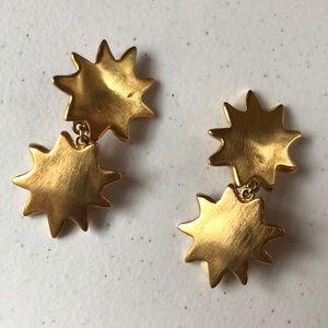 Vintage Sun dangle clipon statement earrings matté